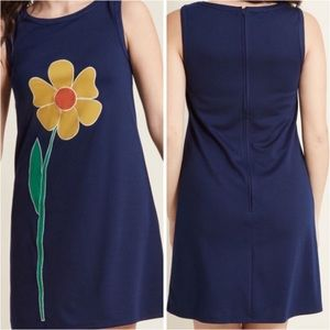 Modcloth yellow flower ponte navy shift dress